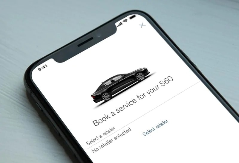 Volvo's book a service app open on a cellphone